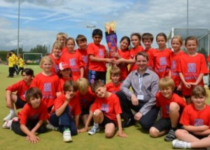 Cllr Hockney & children with Olympic Torch